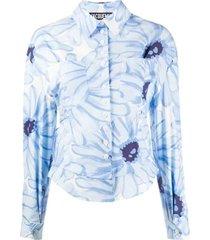 blue floral print blouse