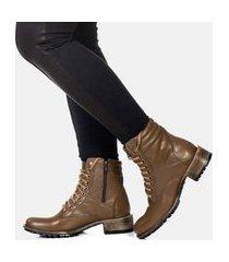 bota cano curto coturno feminina confort couro blogueira marrom