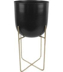 cachepot de metal preto com suporte de metal dourado - incolor - dafiti