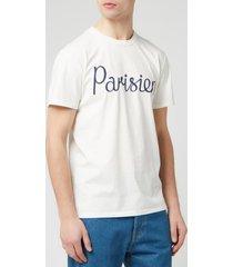 maison kitsune men's parisien t-shirt - latte - xl - white