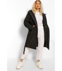 oversized lange parka jas met ceintuur, black