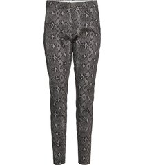 angelie 606 dark grey snake pantalon met rechte pijpen grijs fiveunits