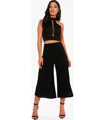 basic soft slinky wide leg culottes, black