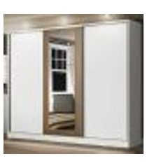 guarda roupa casal 100% mdf madesa eros 3 portas de correr com espelho - branco/branco/rustic