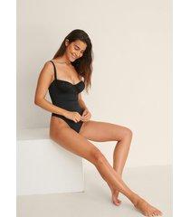 na-kd swimwear återvunnen baddräkt med volang på bröstet - black