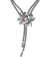 carolyn pollack freshwater peacock pearl (5mm) & multi-gemstone (33 ct. t.w.) dragonfly lariat necklace in sterling silver