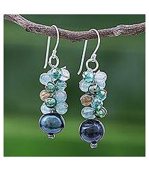 cultured pearl beaded dangle earrings, 'winter' (thailand)