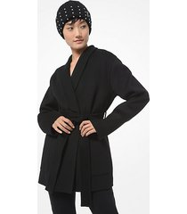 mk cappotto double-face in misto lana con collo a scialle - nero (nero) - michael kors