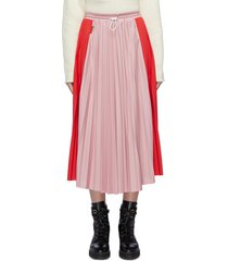 colourblock pleated midi skirt