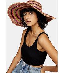 multicolored stripe wide brim straw hat - multi