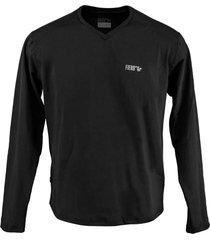blusa tã©rmica masculina segunda pele gola v thermo premium original regular fit - preto - preto - masculino - poliã©ster - dafiti