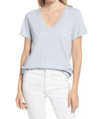 madewell whisper cotton v-neck t-shirt, size x-small in dusty pool at nordstrom