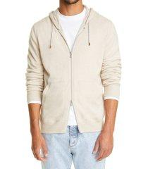 men's brunello cucinelli cashmere zip front hoodie, size 44 us - beige