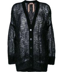nº21 oversize open-knit feather cardigan - black