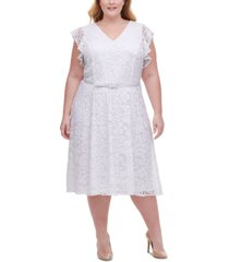tommy hilfiger plus size belted lace fit & flare dress