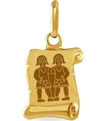 ciondolo in oro giallo pergamena segno zodiacale gemelli per unisex
