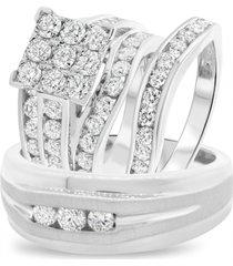 round shape lab-created diamond 14k white gold over groom & bridal trio ring set