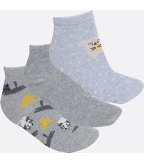 kit 3 pares meias cano curto feminina bolinhas marisa