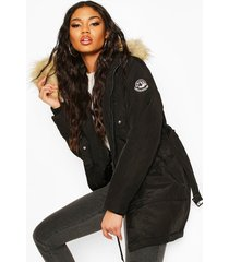 belted parka with faux fur trim hood, black