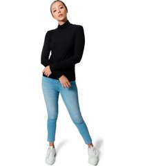 blusa cuello tortuga tela jersey viscosa para mujer color siete - negro