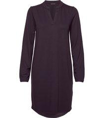 jersey dress, long sleeve, placket knälång klänning lila marc o'polo