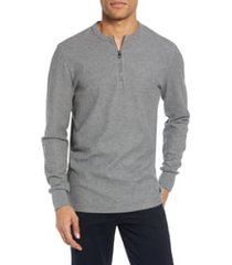 men's boss textor regular fit quarter zip thermal t-shirt, size xx-large - grey