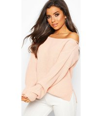 off the shoulder slouchy sweater, blush