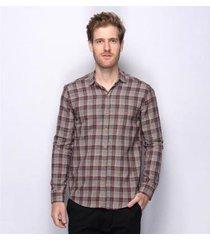 camisa social slim teodoro xadrez algodão 50 fios masculina