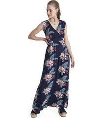 vestido largo escote v azul curvi
