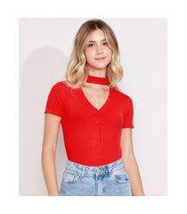 blusa feminina básica canelada manga curta choker vermelho