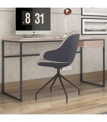 mesa para escritório elisa 1 gaveta carvalho/preto - novabras