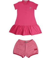 moncler short sleeve dress in fuchsia piquet