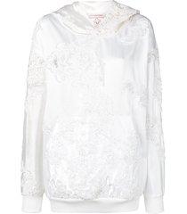 a.f.vandevorst wedding embroidery hoodie - white