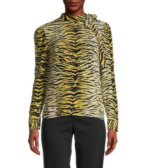 redvalentino women's tiger print blouse - camel - size 40 (8)