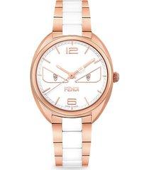 momento fendi bugs rose goldtone stainless steel & ceramic diamond bracelet watch