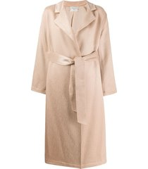 forte forte belted single-breasted coat - neutrals