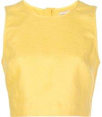 nicholas blusa sem manga cropped - amarelo