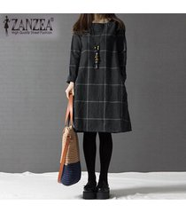 zanzea manera de las mujeres del invierno del otoño más el tamaño del o-cuello de la manga larga a cuadros vestidos casual falda de la manera floja -gris