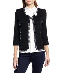 women's ming wang braided trim knit jacket
