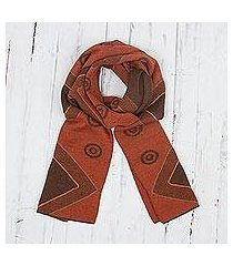 alpaca blend scarf, 'chestnut and pumpkin andes' (peru)