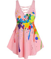 plus size splatter paint criss cross boxer tankini swimwear