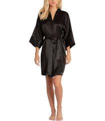 linea donatella women's short satin wrap robe