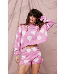 womens knitted heart sweater and shorts lounge set - pink