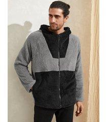 abrigo frontal con cremallera con capucha y forro polar cálido de invierno informal para hombre