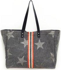 vintage havana tote bag with racing stripe