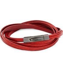 embossed lizard skin leather wrap bracelet