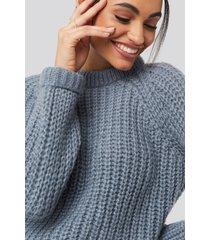 na-kd round neck chunky sweater - grey,blue