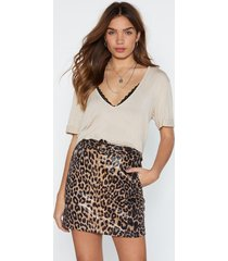 womens oh you're moving too fast leopard skirt - brown