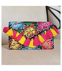 cotton clutch, 'vivid flowers' (mexico)