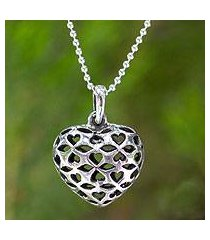 sterling silver pendant necklace, 'heart of the forest' (thailand)